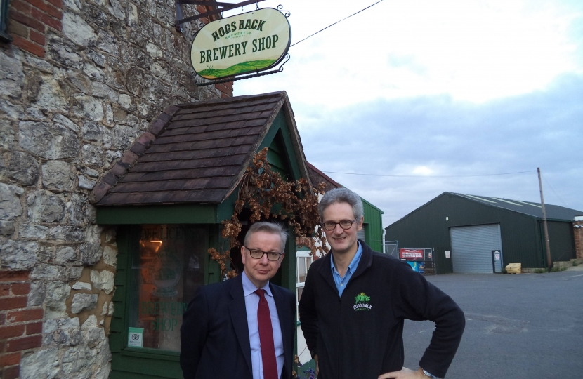 Michael and Rupert outside the Brewery Shop