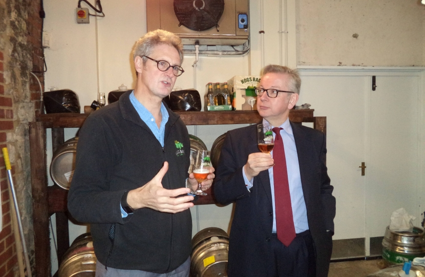 Michael tasting brews with Rupert