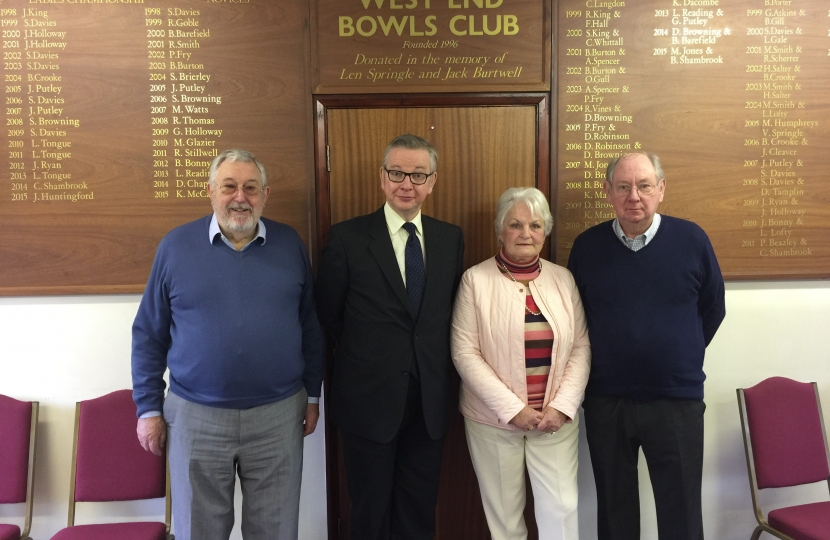 Michael Gove: latest new member of West End Bowls Club | Michael Gove