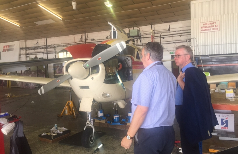 Michael Gove visiting Gama Aviation