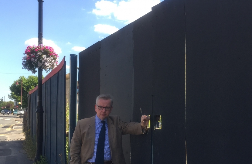 Michael Gove at the Guildford Road site in Lightwater