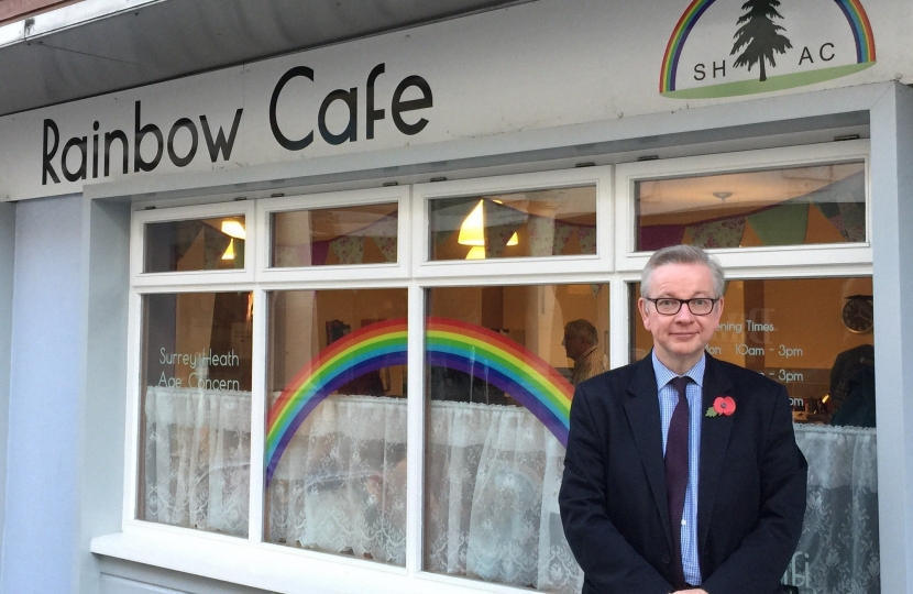 Michael Gove outside the Rainbow Cafe
