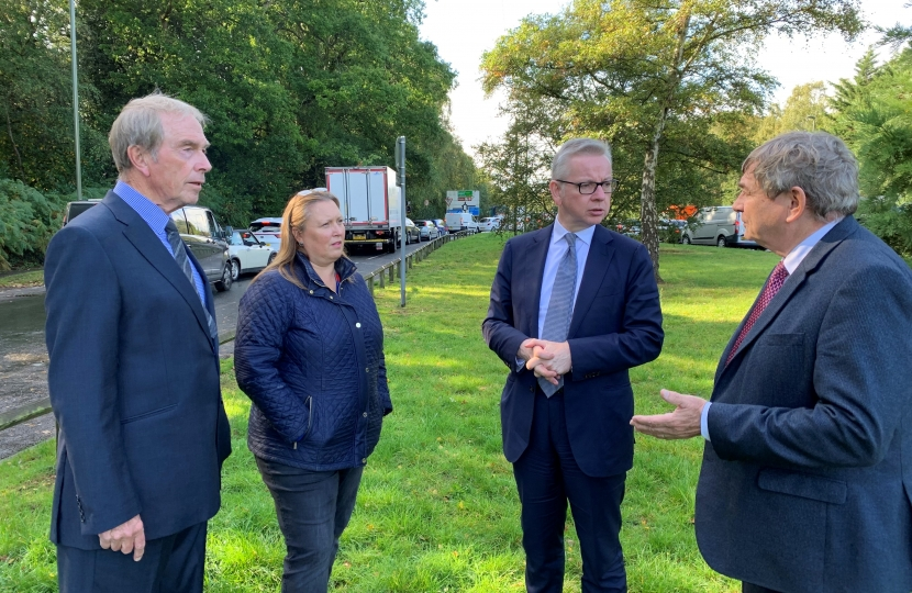 Michael Gove and Cllrs at A322 junction with M3