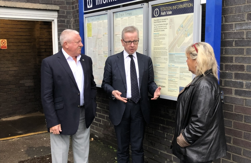 Michael Gove, Cllr Nigel Manning and Cllr Marsha Moseley at Ash Vale station