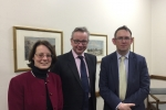Michael Gove MP with Cllr Charlotte Morley and Rail Minister, Paul Maynard MP
