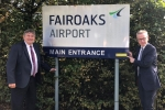 Michael Gove and Cllr Mike Goodman at Fairoaks Airport